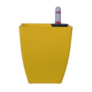Chatura No. 12 Self Watering Square Plastic Pot / planter (Yellow)