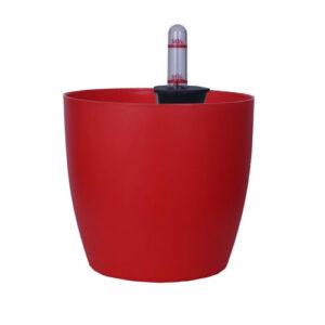 Ronda No. 1412 Self Watering Round Plastic Pot / planter 5.3 Inch (13 Cm)-Red